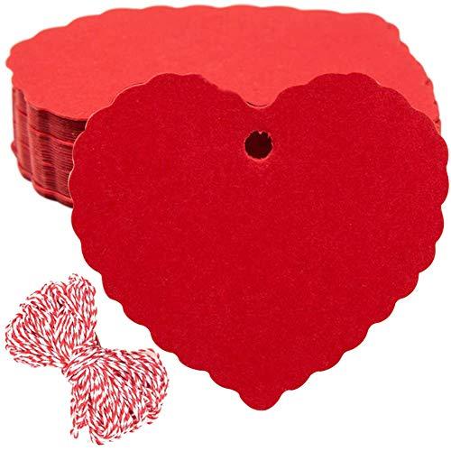 200 Piezas Etiquetas de Papel Kraft- en Forma de Corazón Rojo Etiquetas de Regalo Etiquetas de Boda San Valentín Decoración con 40 metros de hilo rojo y blanco