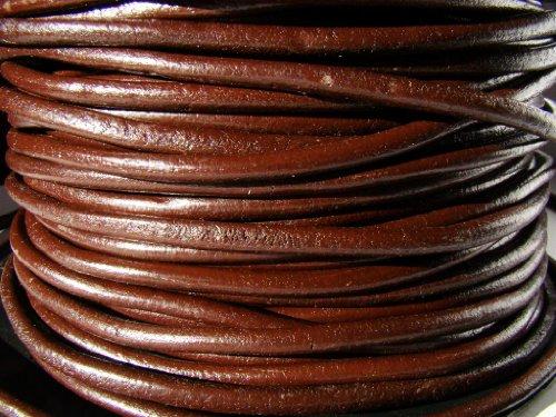 Ruban de cuir, cuir corde bracelet en cuir 5 m. 5,0 mm rond couleur Marron