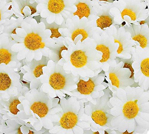 Demarkt 100*Kunstblumen Künstliche Deko Blumen Gänseblümchen für Hochzeitsdeko Karten DIY Basteln Haar Bogen Hut Handwerk (Weiß)