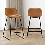 Alexander Indoor/Outdoor Industrial Faux Leather Bar Stools Set of 2,Urban Armless Dining Chairs with Metal Legs, Modern Counter Height Barstools for High Table Home Office Kitchen Island Chair 26