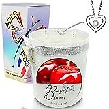 Bougie Bijoux • 2 mèches 350ml Parfumée Pomme d'Amour + Pendentif • Coffret...
