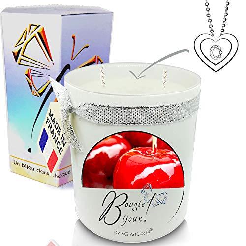 Bougie Bijoux • 2 mèches 350ml Parfumée Pomme d'Amour + Pendentif • Coffret Cadeau Artisanal • Bijoux Cristal Swarovski éléments Femme • Suédine + Pochette