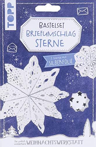 Briefumschlag-Sterne Bastelset mit Silberfolie: Anleitung und Material für 2 Sterne aus Briefumschlägen mit Silberfolie zum Selberbasteln. Mit Aufhängung und Satinband.