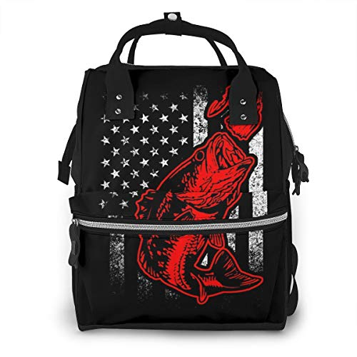 Bass Fishing Lure American Flag Baby Diaper Bag Backpack,Multi-Function Waterproof Large Capacity Travel Nappy Bags For Mom