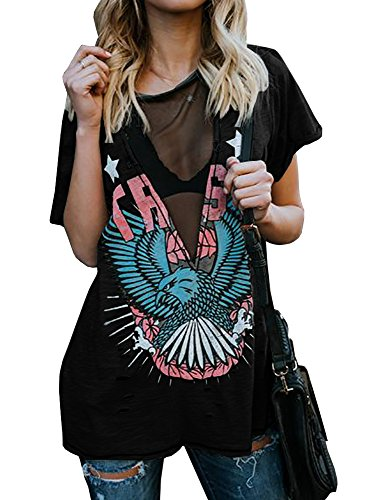 Karlywindow Womens Distressed Eagle Print Mesh V Neck Loose Graphic Short Sleeve T-Shirt Tops Blouse, Black, Medium