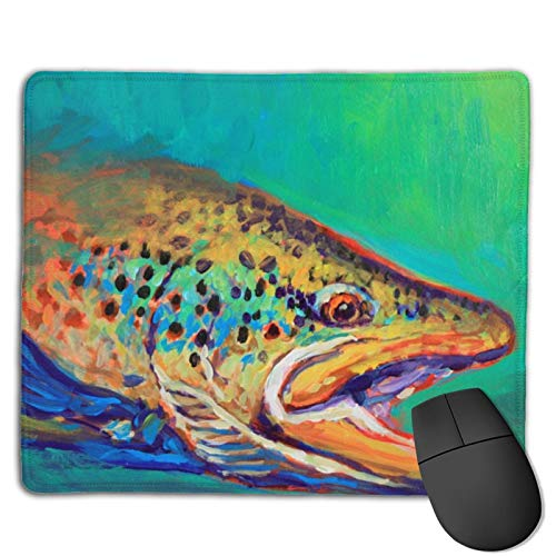 Faizash Mouse Pad-Brown Trout Art Computer Mouse Pad with Non-Slip Rubber Base and Alternative Anti-Wear Edges,Premium-Textured Mouse Pad,Mouse Pads for Computers,Laptop,Gaming,Office & Home