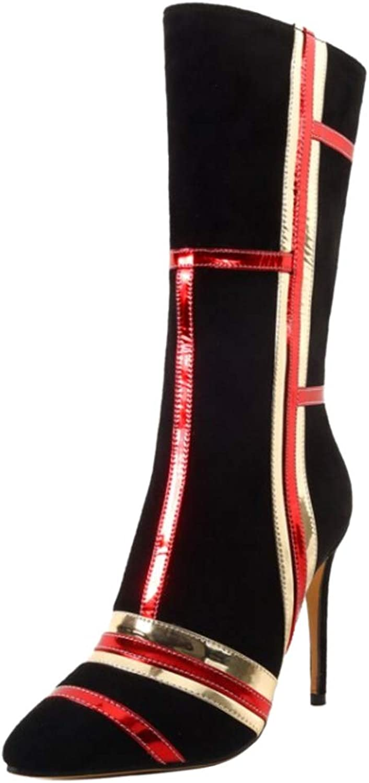 CarziCuzin Women Stiletto Mid Calf Boots Zipper
