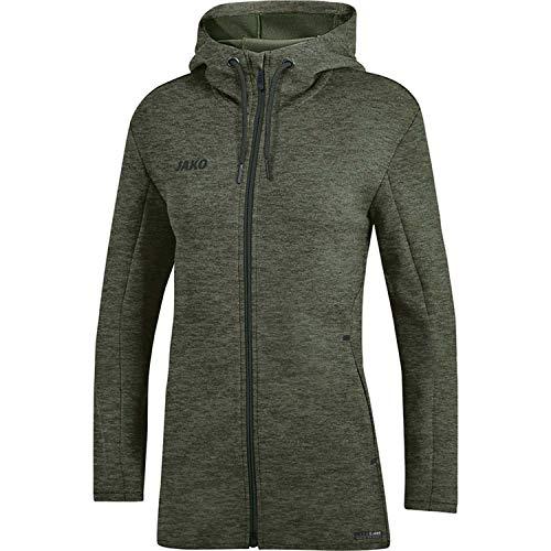 JAKO Damen Premium Basics Kapuzenjacke, Khaki meliert, 38