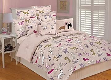 cute & girly dog-themed bedroom bedding duvet cover in pink with dog pattern