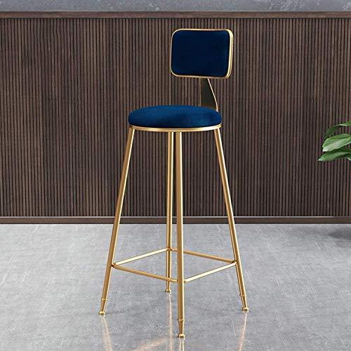 Jiyy Nordic Velvet Dining Chair Moderne Simplicity Bar Chair hoge barkruk met rugleuning Gouden metalen poten selectie blauw