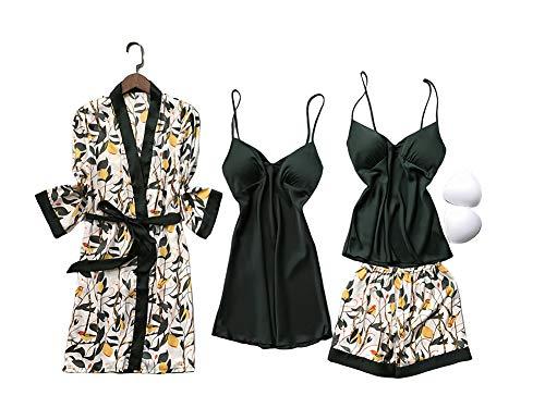 Chongmu Pijama de Raso para Mujer 4 Piezas Camisón de Seda Cuello en V Manga Larga Ropa de Dormir Pijamas Bata de baño