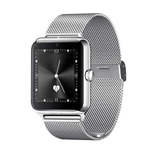 Z60 1,54-Zoll-Display Smartwatch mit Kamera-Unterstützung SIM TF-Karte Stahlband-Armbanduhr für iOS Für Android BCVBFGCXVB (Silber