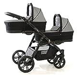 Carro gemelar 3 piezas. Completo: capazos, sillas, sillas de coche, accesorios. Desde nacimiento hasta los 3 años. BBtwin 3en1 (gris+negro)