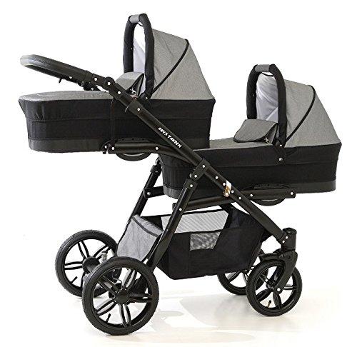 Chariot à jumeaux 3 pièces. Complet : nacelles, chaises, sièges de voiture, accessoires. Dès la naissance jusqu à 3 ans. BBtwin 3 en 1 (gris + noir)
