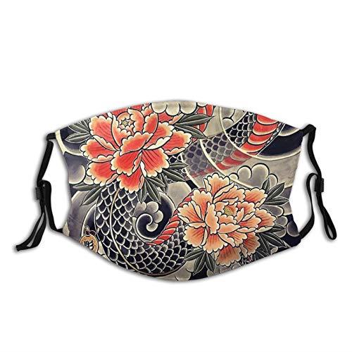 Japanese Samurai Oni Cloth Face Mask,Comfortable Balaclavas Reusable Bandana Adjustable Scarf For Adult (With 2 Filters)