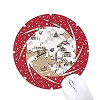 香港の中国の場所地図 円形滑りゴムの赤のホイールパッド