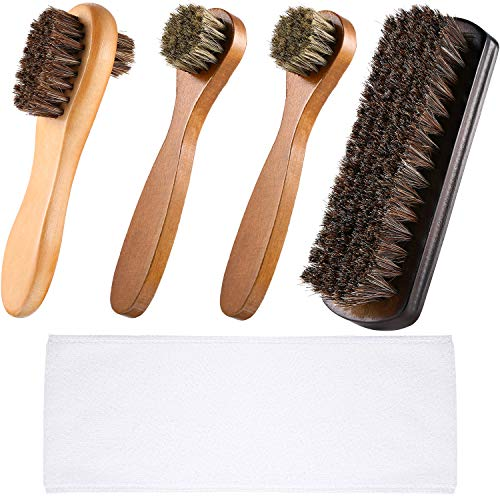5 Pieces Shoe Brush Kit Polish Applicator for Shoes Leather (Style 1)