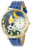 夜のお散歩猫 ロイヤルブルーレザー ゴールドフレーム 時計 #G0120009