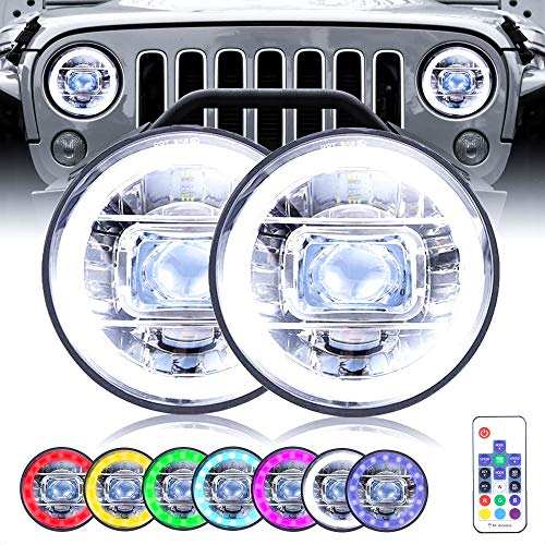 7 Inch Round RGB Halo LED Compatible with Jeep Wrangler Headlights 2PCS Remote Control DRL Hi/Lo Beam Angel Halo headlights Jeep Wrangler Accessories for JK TJ LJ JL CJ Jeep Headlights Truck and Cars