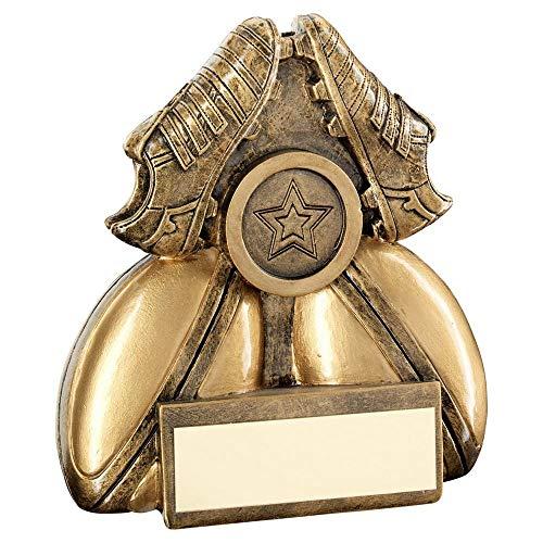 Lapal Dimension BRZ/Gold - Trofeo de Rugby con Dos Pelotas y Botas (Centro de 1 Pulgada, 7,6 cm)