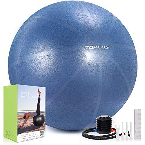 TOPLUS Pelota de gimnasia, extra gruesa, para yoga, resistente a los golpes, pelota de equilibrio con bomba rápida, color azul oscuro y 65 cm
