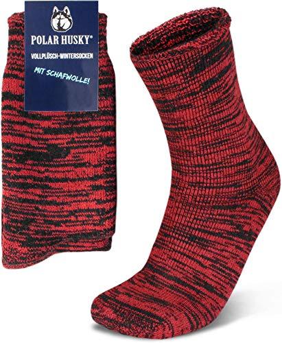 Polar Husky 3 Paar Sehr warme Socken mit Vollplüsch & Schafwolle/Nie wieder kalte Füße! Farbe Vollplüsch/Wolle/Rot Größe 47-50