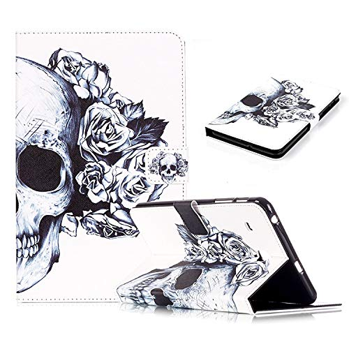 UUcovers Case for Samsung Galaxy Tab E 8.0 Inch 2016 Released Tablet SM-T377A/T377V/T377P/T375/T378 Slim PU Leather Folio Stand TPU Back Shockproof Wallet Cover with Card Pockets, Black Skull Flower