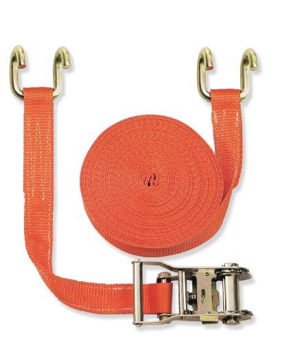 Braun Sangle d'arrimage 2 pièces à cliquet et crochets bord de rive 2000 daN Orange 6 m x 35 mm