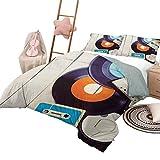 Juegos de ropa de cama de 3 piezas, funda de edredón indie con patrón, discos de gramófono y casetes de audio antiguos en una mesa de madera, música de nostalgia, tamaño king, azul, naranja, negro
