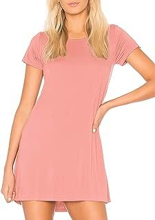 Sleepwear Women's Nightgown Sleep Dress with Bra Padded Short Sleeve Sleep Tee Nightshirt