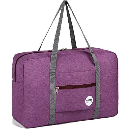 WANDF Leichter Faltbare Reise-Gepäck Handgepäck Duffel Taschen Übernachtung Taschen/Sporttasche für Reisen Sport Gym Urlaub Weekender handgepaeck (A - Denim Lila)