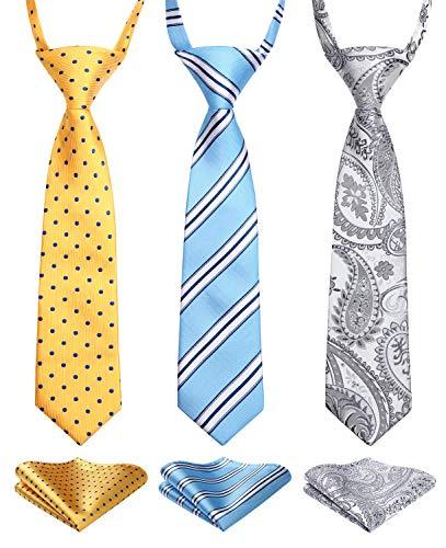 Enlision 3pcs Boys Pre-Tied Neckties & Pocket Square Set Neck Strap Tie for Kids Yellow/Gray/Blue