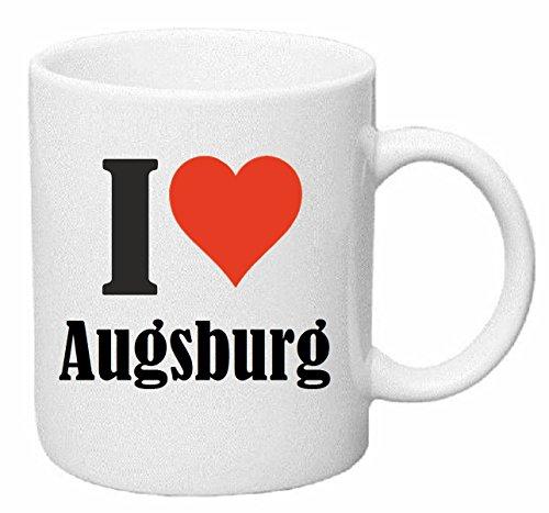 Reifen-Markt Kaffeetasse I Love Augsburg Keramik Höhe 9,5cm ? 8cm in Weiß