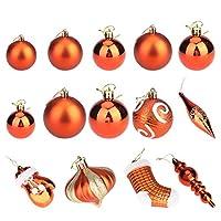 ledmomo 60pcs クリスマスオーナメント セット クリスマスツリー飾り オレンジ