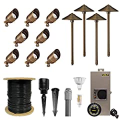 COMPLETE LANDSCAPE LIGHTING KIT – Includes eight (8) solid-brass spotlights, four (4) solid brass path lights, twelve (12) easy-install Hammer Stakes, one (1) 150-watt high performance transformer designed for LED landscape lighting, one (1) timer/ph...