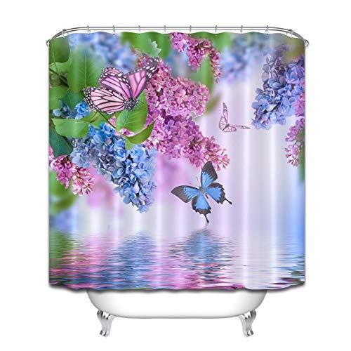 OqgsMindyzk Flieder Butterfly Duschvorhang Dekoration wasserdicht &urchsichtig kreative Kunst Umweltschutz Größe 180x180cm