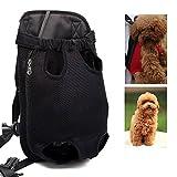 LEMONPET Dog Front Carrier Bag Adjustable, Legs Out, Pet Cat Dog Carrier Backpack for Walking, Traveling, Hiking, Camping, Bike and Motorcycle (Large, Black)