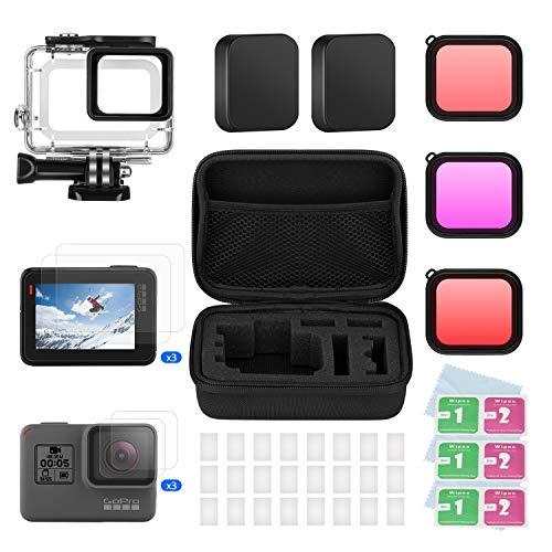 BOYISEN Kit de Accesorios para GoPro Hero 7(Negro)/6/5/Hero(2018), con Estuche Impermeable, 3 Filtros, Vidrio Templado para Pantalla y Lente, Tapas de Lentes, Inserciones Antiniebla, Estuche