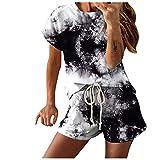 Shownicer Donna Sportiva Abbigliamento Felpa Tops E Pantaloni Jogging Manica Corta Pullover Tuta Ginnastica Nero XXL