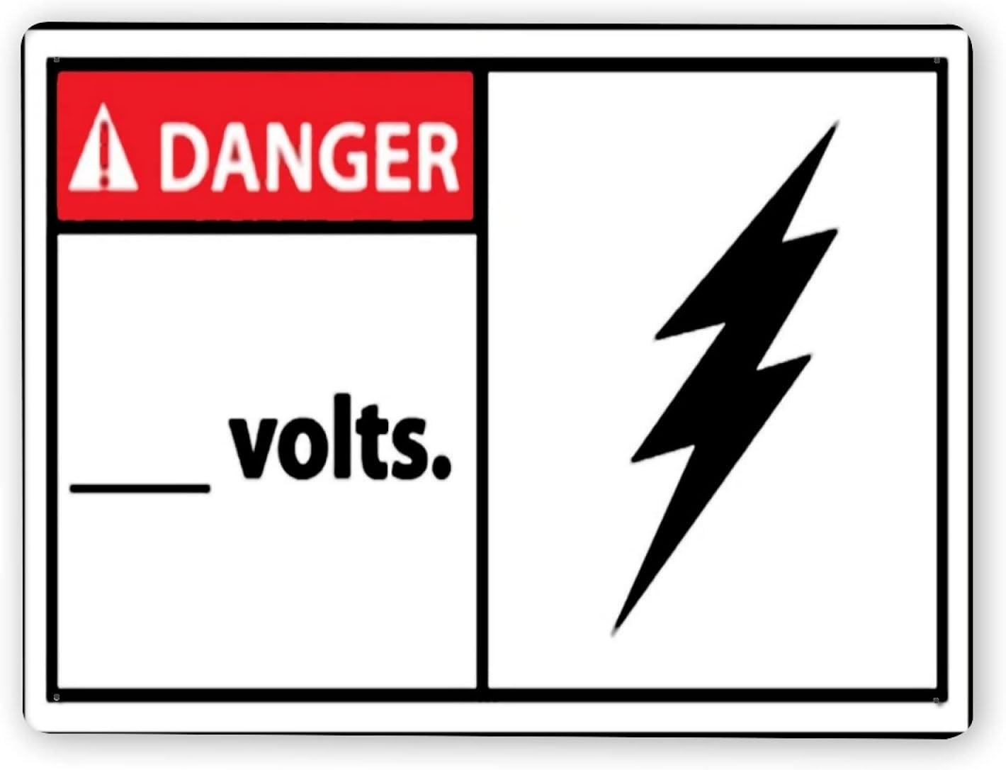 Carteles metálicos,PELIGRO Voltios 1,8x12 In,Señal de aviso Señal de advertencia y decoración de logotipo