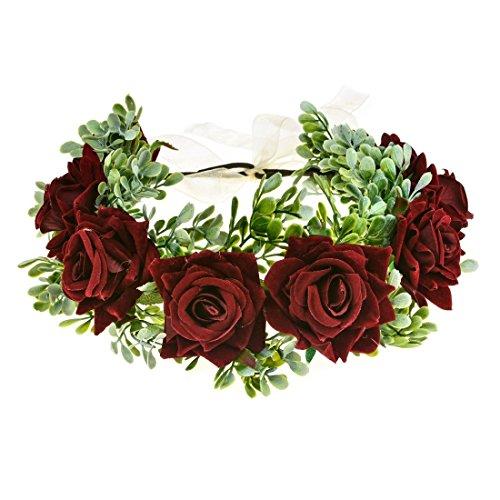 Vividsun Women Flower Crown Floral Headpiece Festival Wedding Hair Wreath Floral Crown (burgundy)