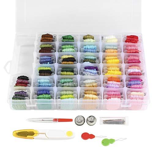 Sticktwist Kreuzstich-Set, 108 Farben, Freundschaftsarmbänder mit Organizer, Aufbewahrungsbox, Stickgarn, Armband und 38 Kreuzstich-Werkzeuge
