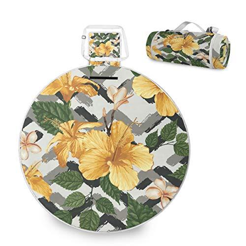 Manta grande para picnic al aire libre – Tropical Palm Leaves Flower Picnic Mat para la familia Camping Beach Park, mango impermeable redondo 59 pulgadas