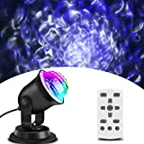 Light Projector, Liwarace Water Effect Night Light Waterproof Body RGBW LED Remote Timer Control for Kids Baby Room Outdoor Indoor Wedding Birthday Party Decoration for Night Light Projector