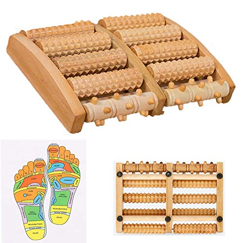 ZTENG Dual Wood Foot Massager Roller, Plantar Fasciitis, Heel, Arch Pain Relief, Trigger Point Therapy,Stress Relief, Relaxation Gift