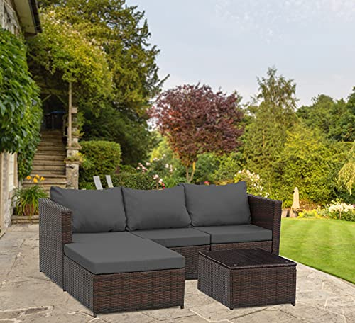 Rattan Garden Corner Sofa with Coffee Table Patio Furniture Set - 3 to 4 Seater (Dark Brown Mixed with Dark Grey Cushions)