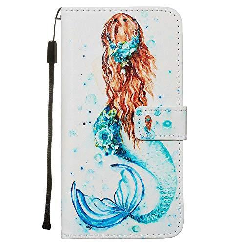 Nadoli Leder Hülle für Huawei P40 Pro,Bunt Meerjungfrau Malerei Ultra Dünne Magnetverschluss Standfunktion Handyhülle Tasche Brieftasche Etui Schutzhülle
