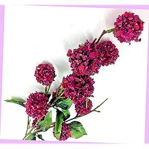 Artificial Snowball Flower Spray Stem Hot Pink Tone, Green 34″ Tall Artificial Flowers Bouquet Realistic Flower Arrangements Craft Art Decor Plant for Party Home Wedding Decoration