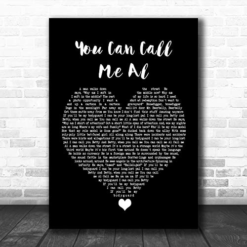 Je kunt me bellen Al Black Heart Song Lyric Quote Muziek Poster Print Medium A4