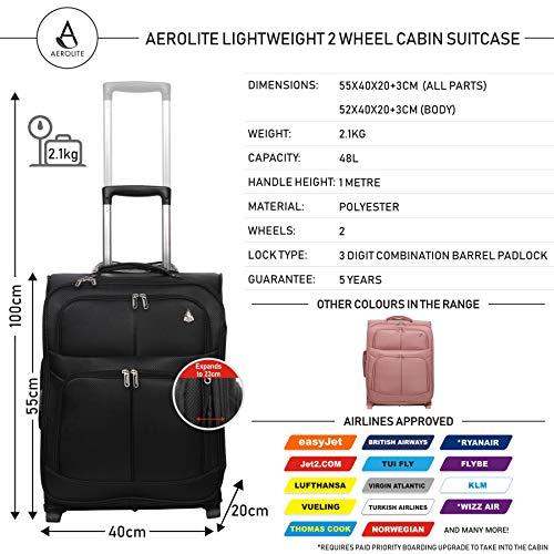 Aerolite 55x40x20 Ryanair Taille Maximale 42L Bagage Cabine Bagage Souple Légere à, pour Easyjet...